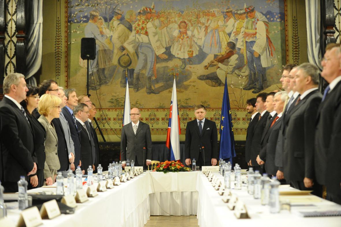 Společné zasedání české a slovenské vlády ve Skalici