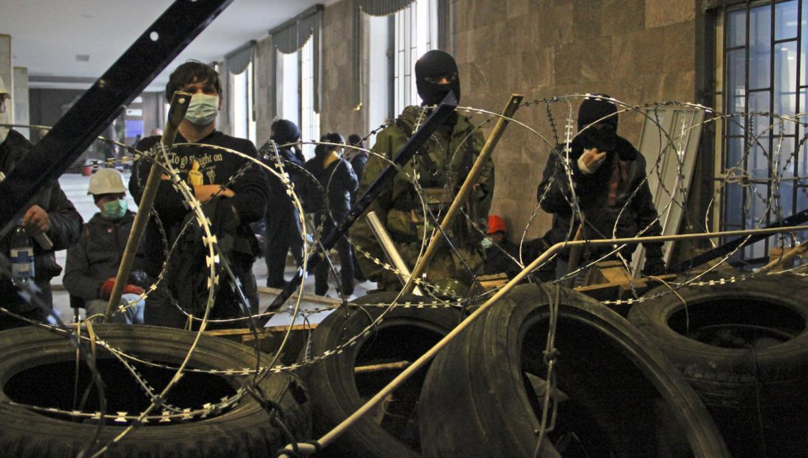 Barikády proruských aktivistů v Doněcku