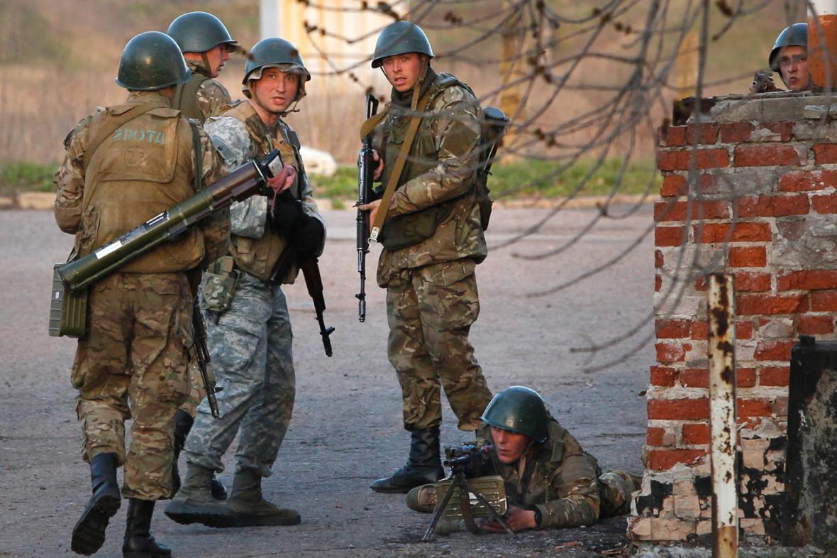 Ukrajinské jednotky v Kramatorsku