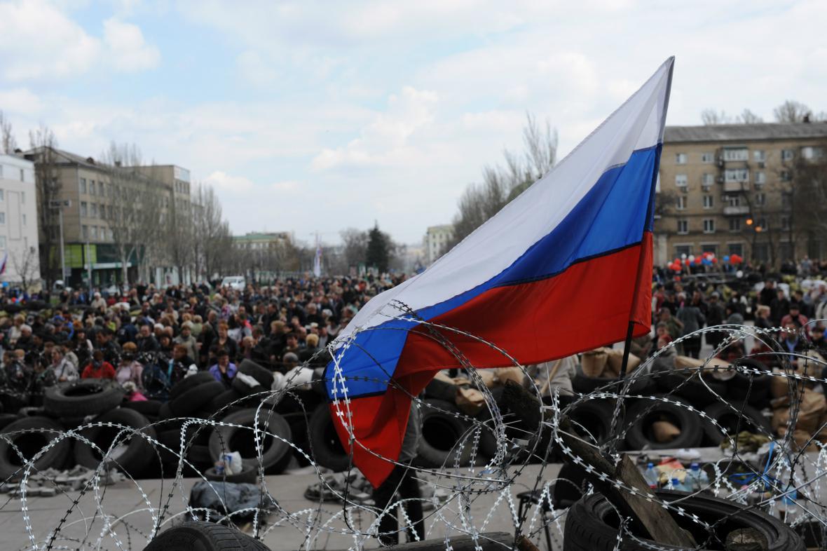 Barikády separatistů v Doněcku