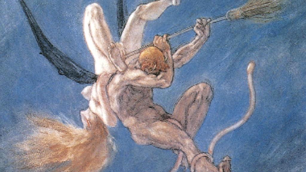 Félicien Rops: Únos, z cyklu Satanské (1882)
