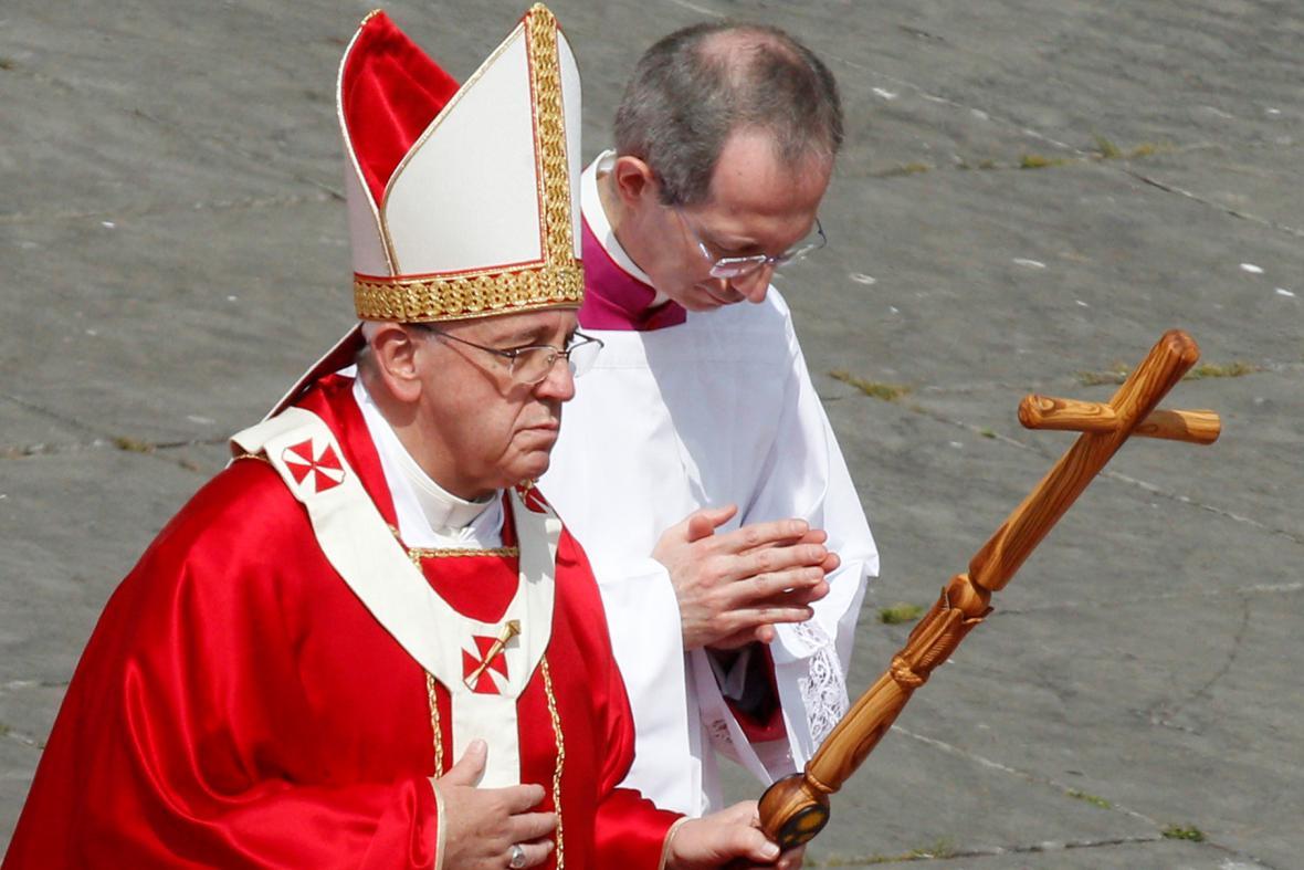 Papež František před bohoslužbou na Květnou neděli