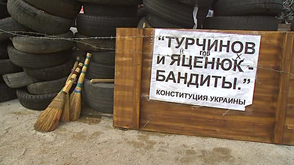 Barikády před radnicí v Doněcku