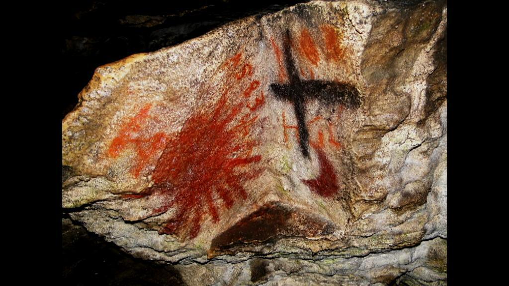 Restaurované malby v Jeskyni Na Špičáku