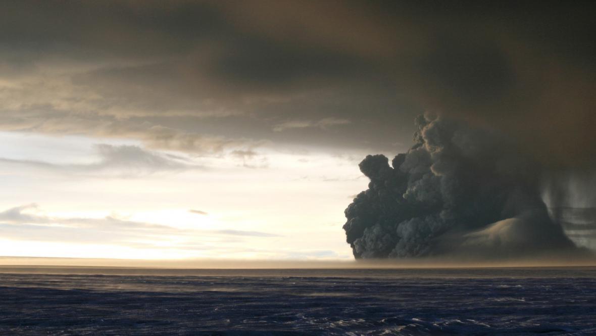 Sopečná erupce na Islandu, ilustrační foto