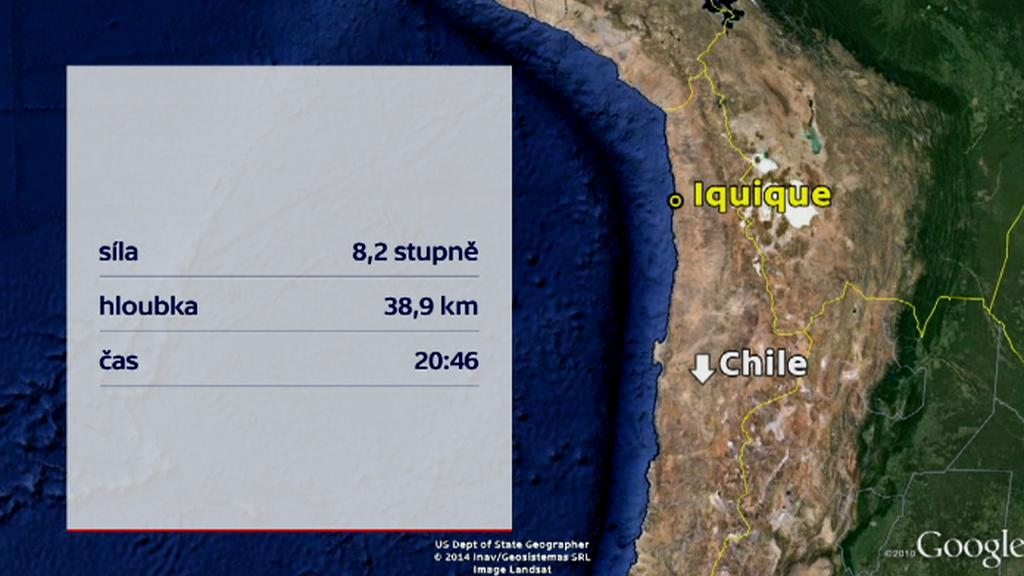 Síla zemětřesení v Chile