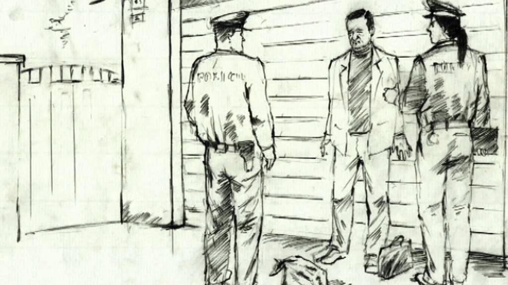 Kresba zachycující zadržení Davida Ratha