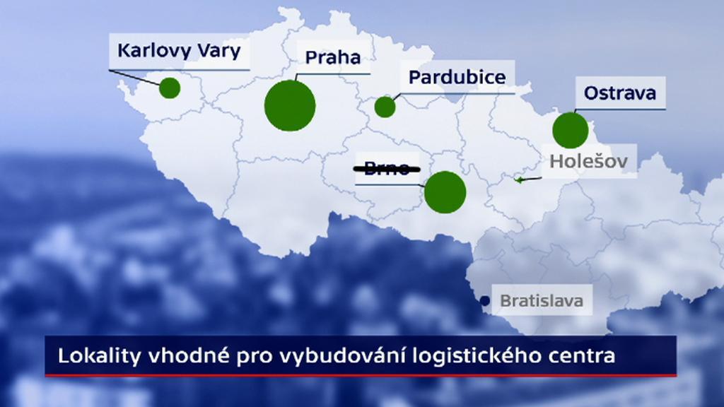 Možné lokality pro distribuční centrum Amazonu