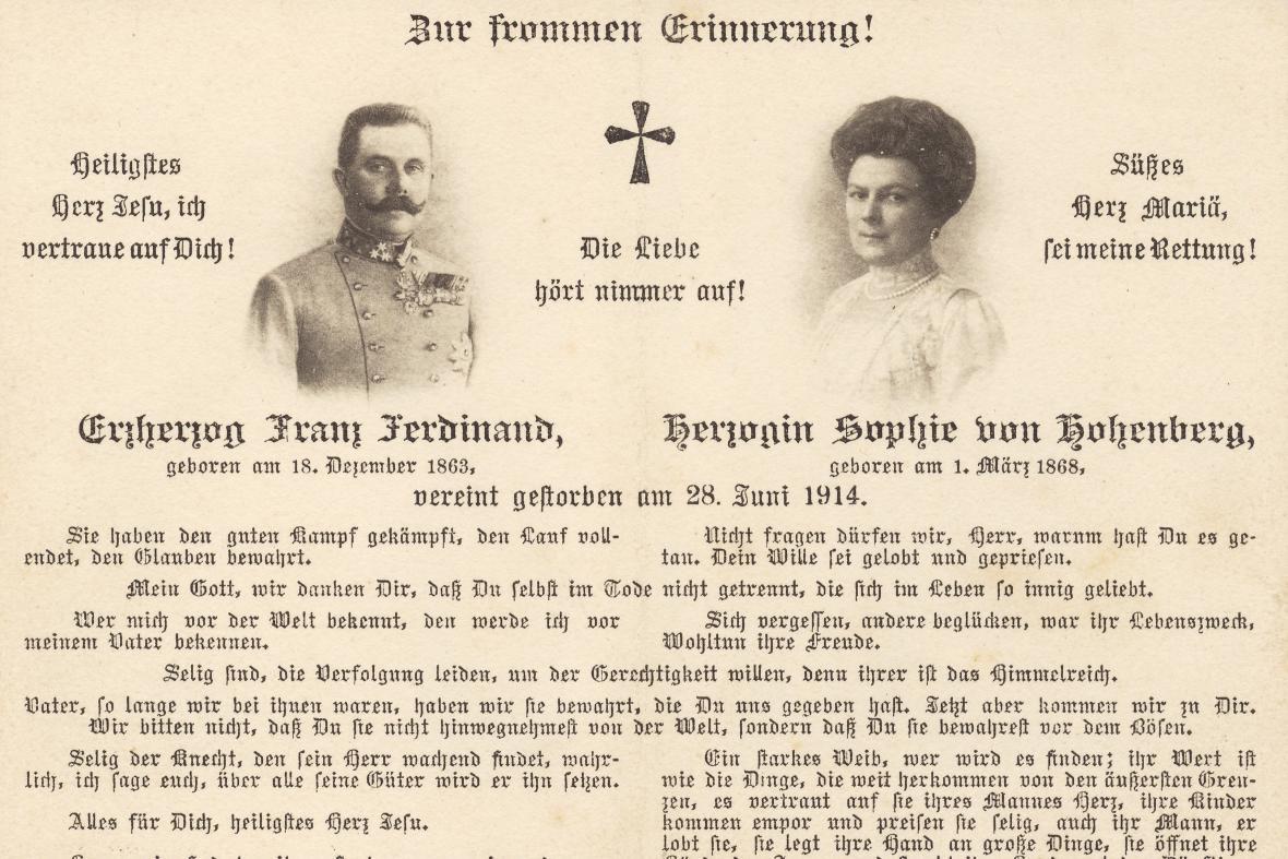 Smuteční oznámení o smrti Ferdinanda d'Este a Žofie Chotkové