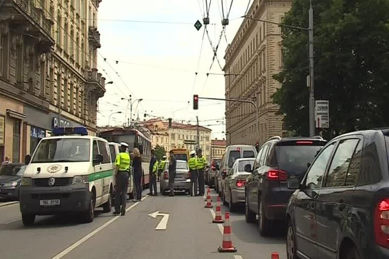Nehoda trolejbusu v centru Brna