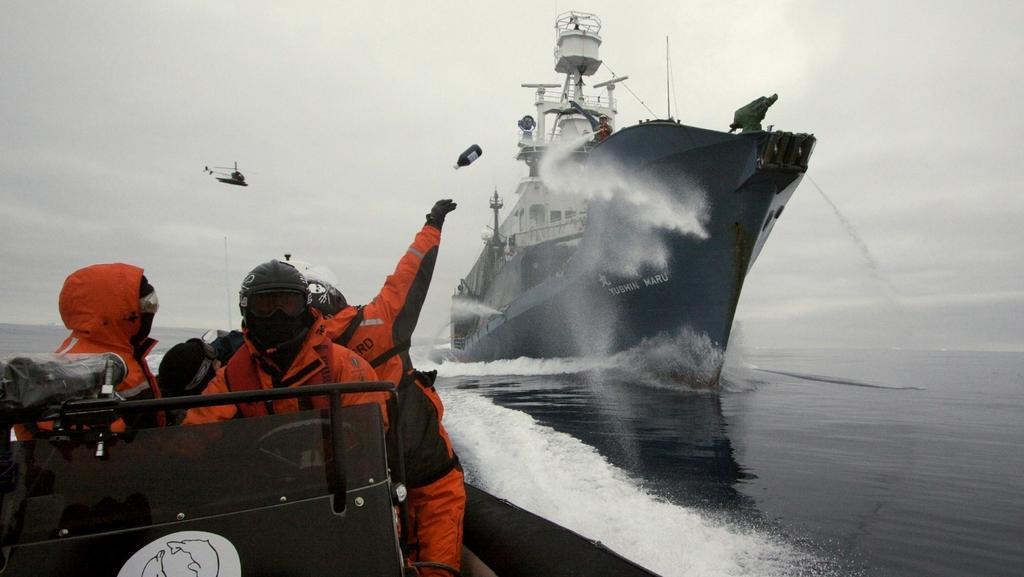 Aktivisté hází na palubu Japonců lahve se žluklým máslem