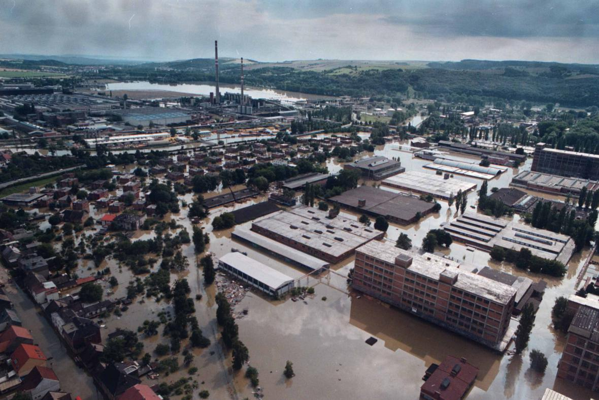Průmyslové Otrokovice pod vodou v roce 1997
