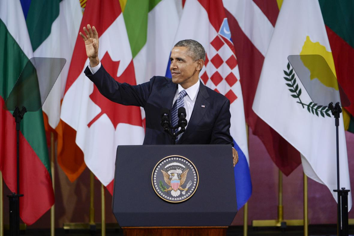 Barack Obama při projevu v bruselském centru Bozar