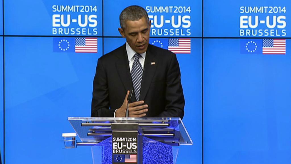 Barack Obama na brífinku po summitu EU-USA