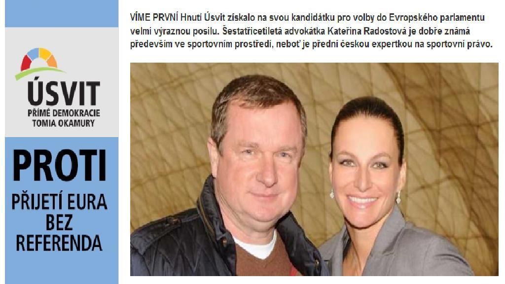Kateřina Radostová s Pavlem Vrbou v článku webu ParlamentníListy