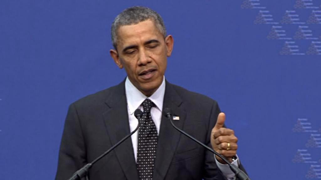 Barack Obama na brífinku v Haagu