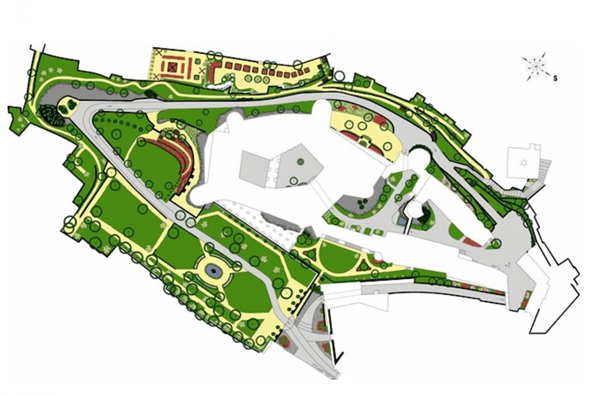 Plán zámecké zahrady v Mikulově
