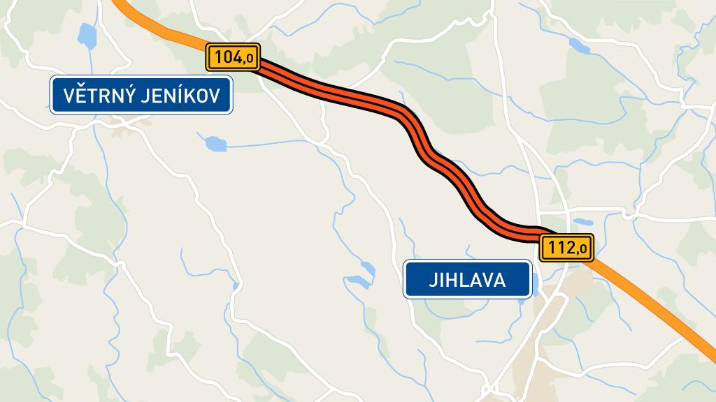 Rekonstruovaný úsek dálnice D1 mezi Větrným Jeníkovem a Jihlavou