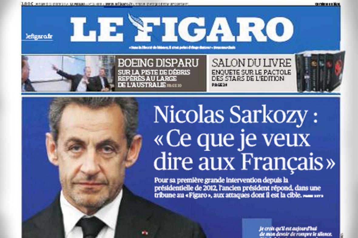 Nicolas Sarkozy v deníku Le Figaro