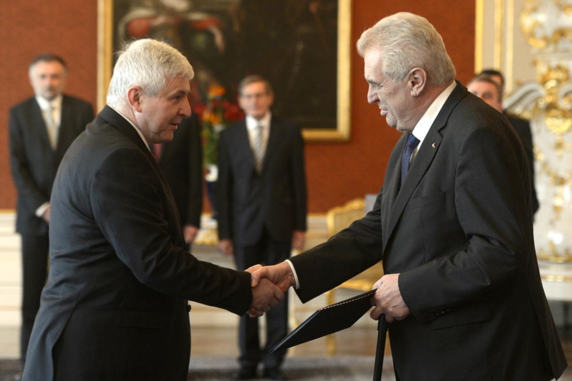 Jiří Rusnok a prezident Miloš Zeman