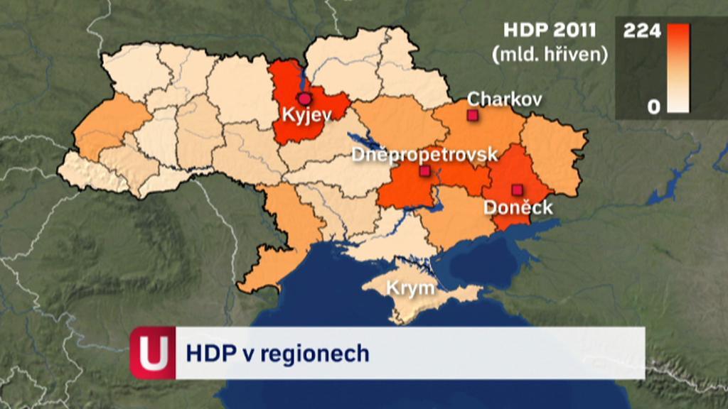 HDP v regionech Ukrajiny