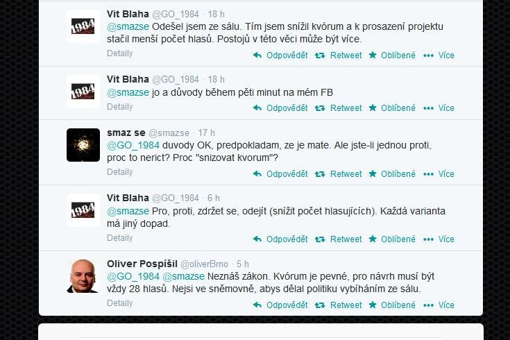 Twitterová diskuse o mechanismu hlasování