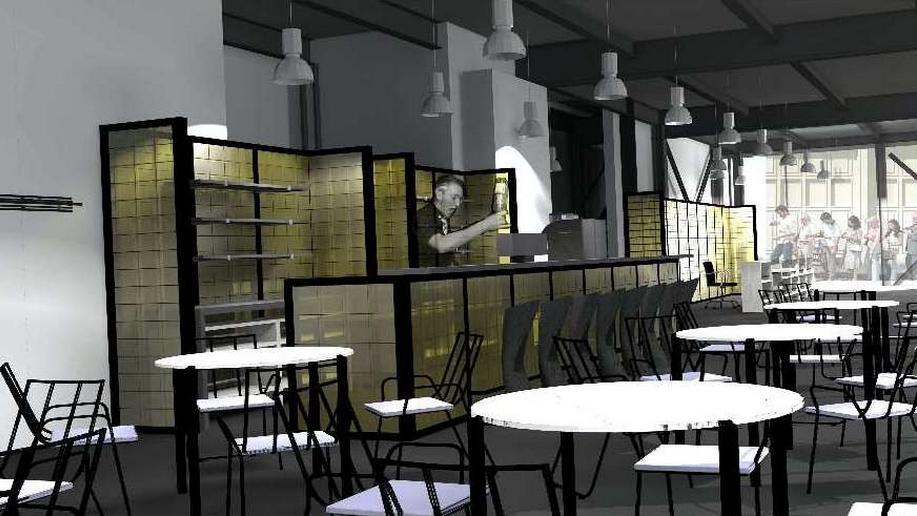 Vizualizace kavárny v Kulturní fabrice Světovar