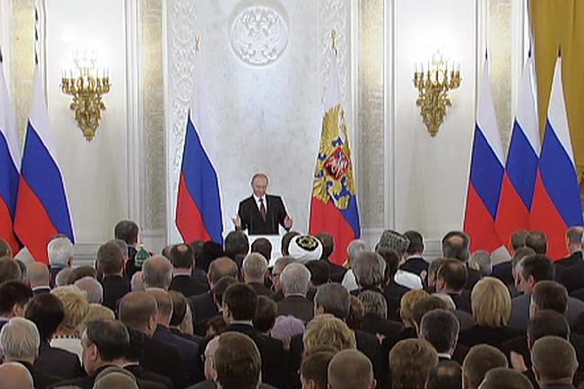 Projev Vladimira Putina před oběma komorami ruského parlamentu