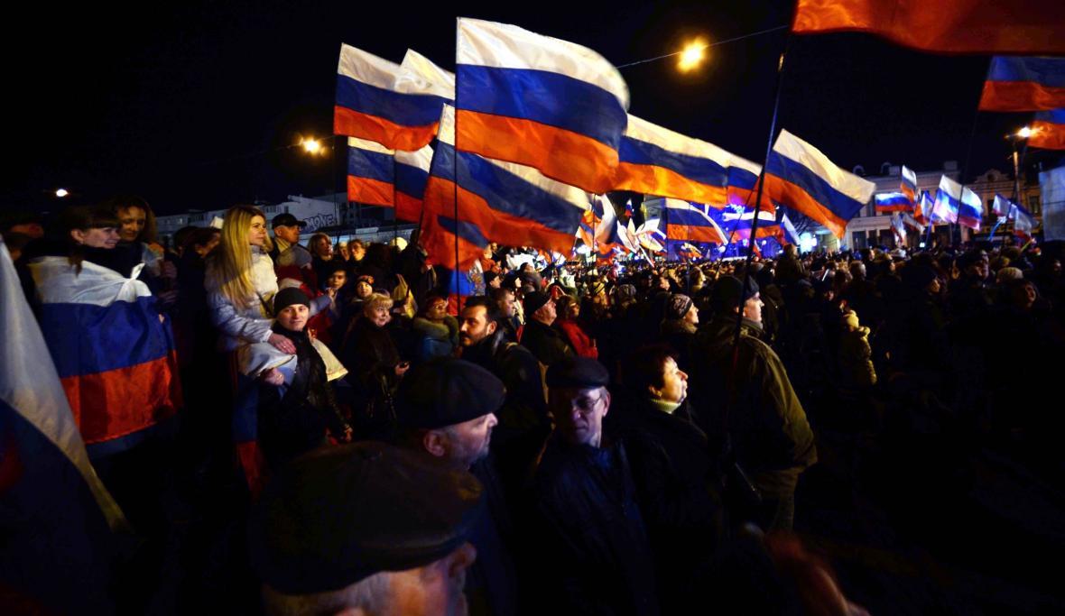 Oslavy výsledků referenda v krymském Simferopolu
