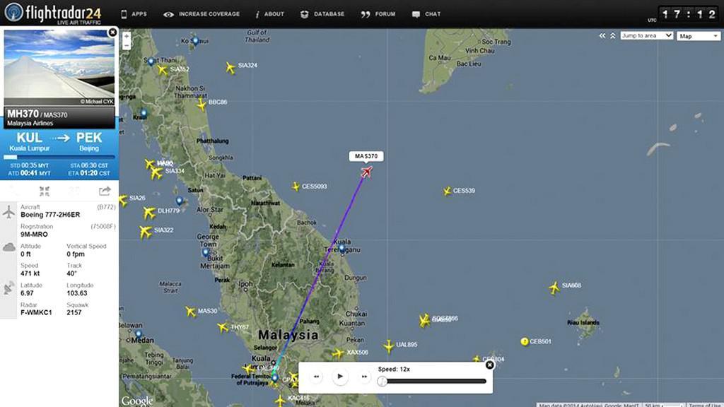Místo, kde Malaysia Airlines ztratila letadlo z radarů