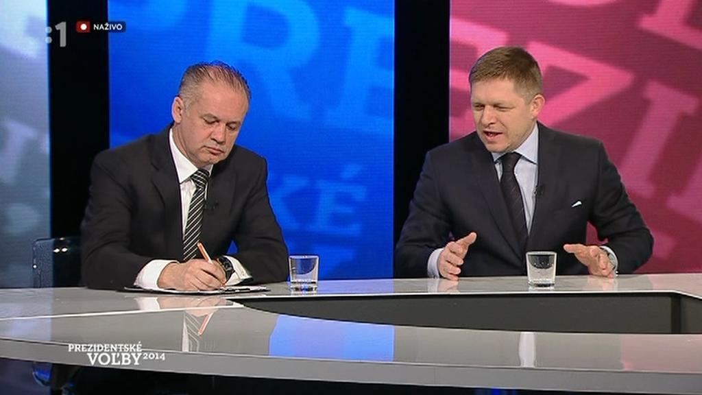 Andrej Kiska a Robert Fico v televizním duelu na RTVS