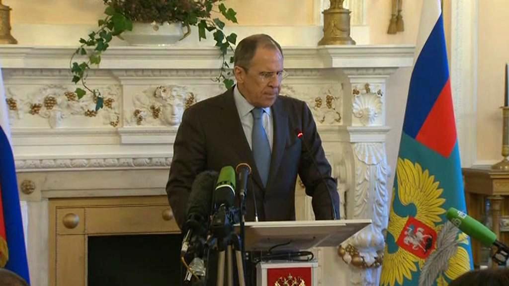 Sergej Lavrov na brífinku po jednání s Johnem Kerrym
