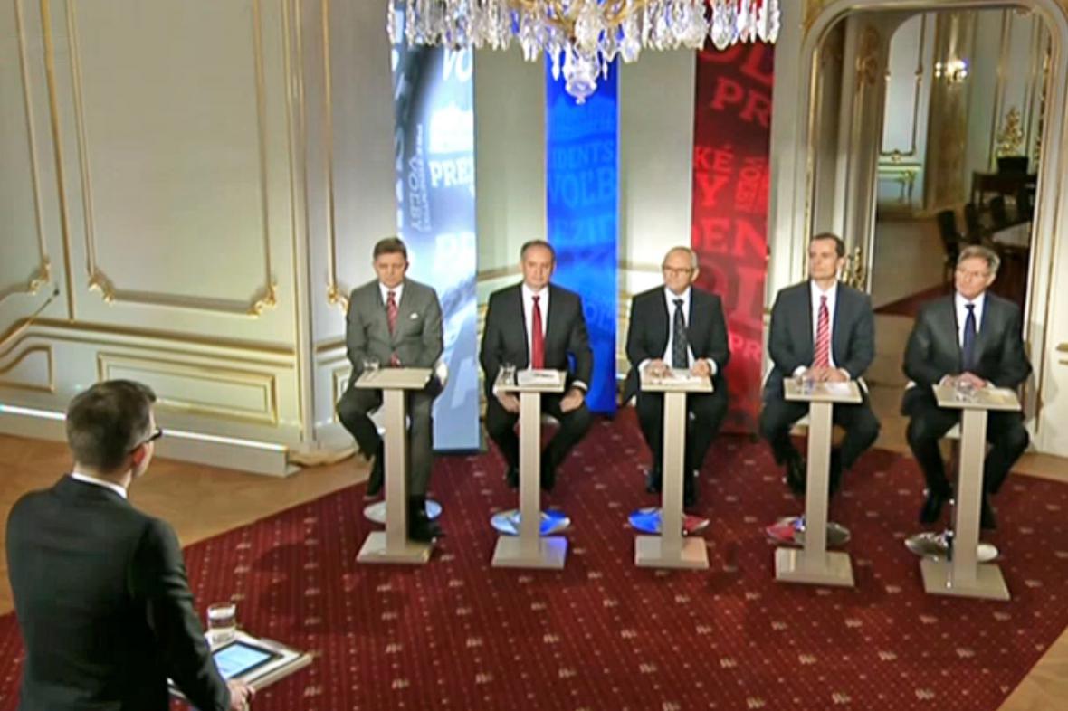 Debata pětice favoritů slovenských prezidentských voleb