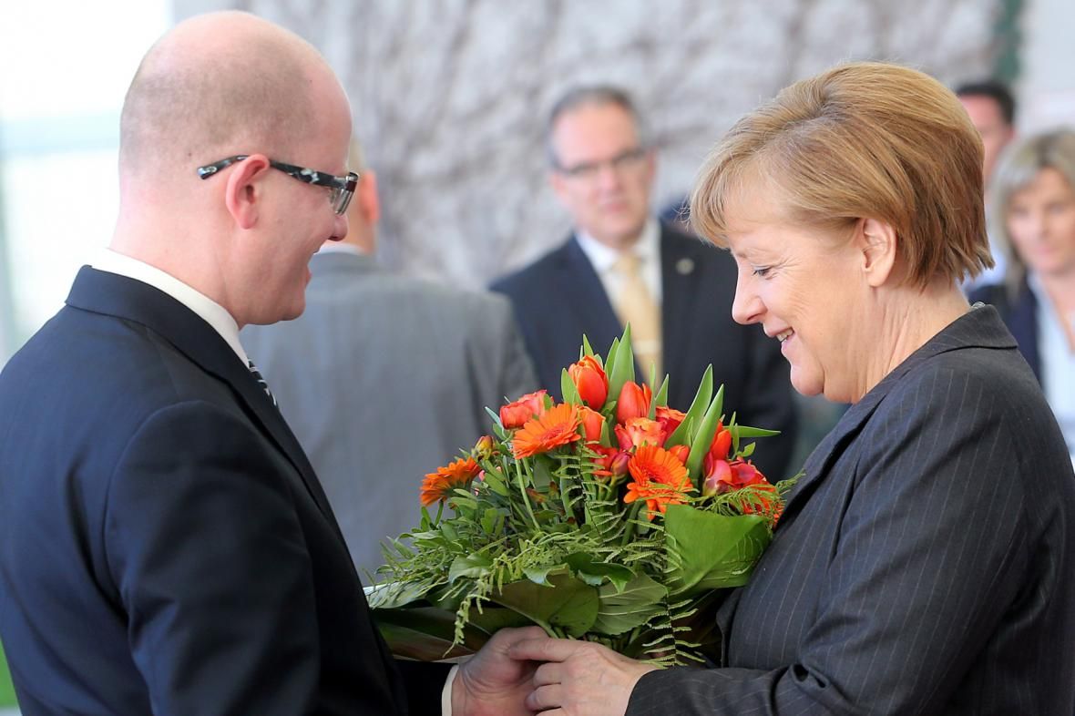 Bohuslav Sobotka s kancléřkou Angelou Merkelovou