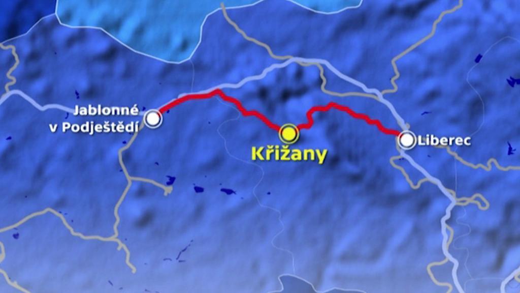 Trať vedoucí přes Křižany spojuje Ústecký a Liberecký kraj