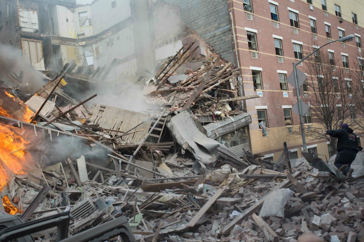 Následky výbuchu v Harlemu