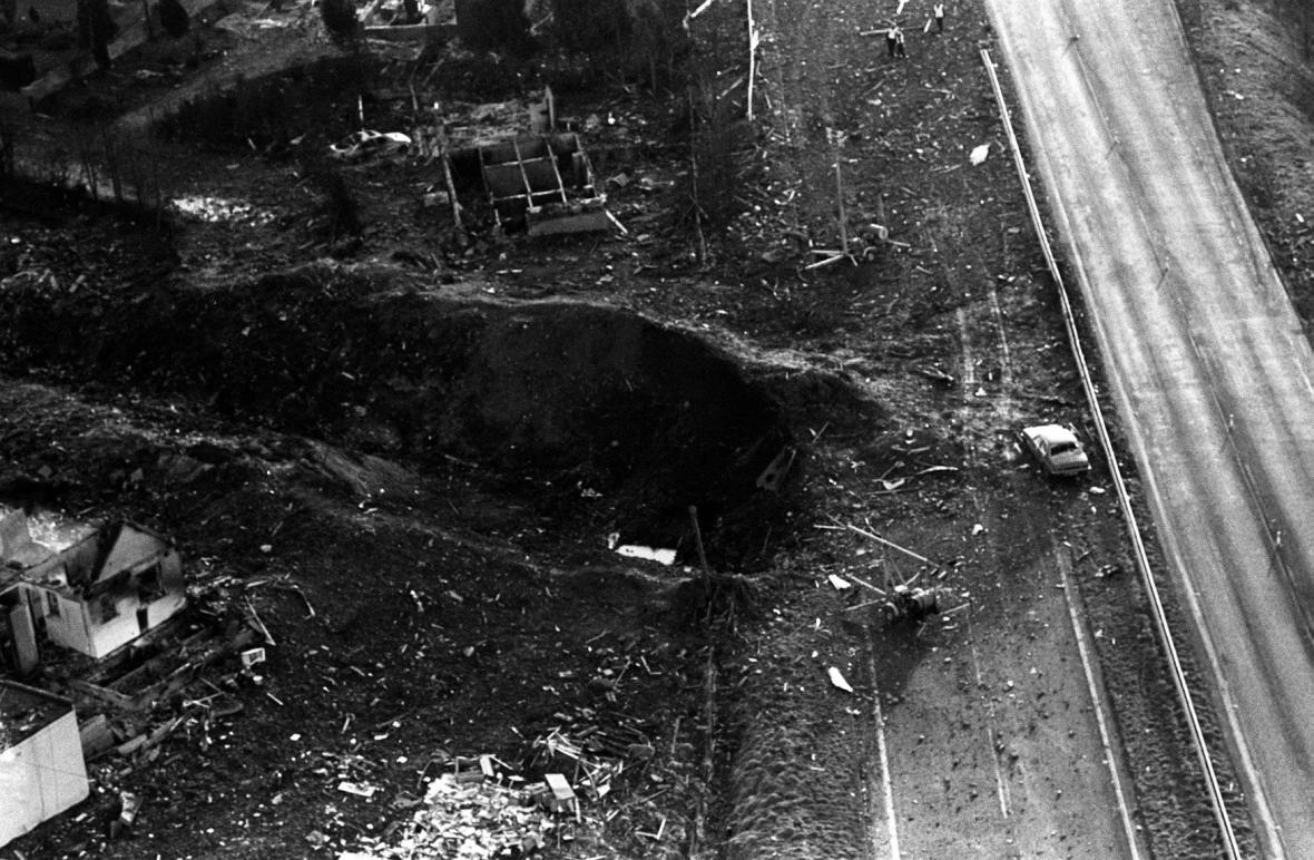 Kráter po spadlém letadle u Lockerbie