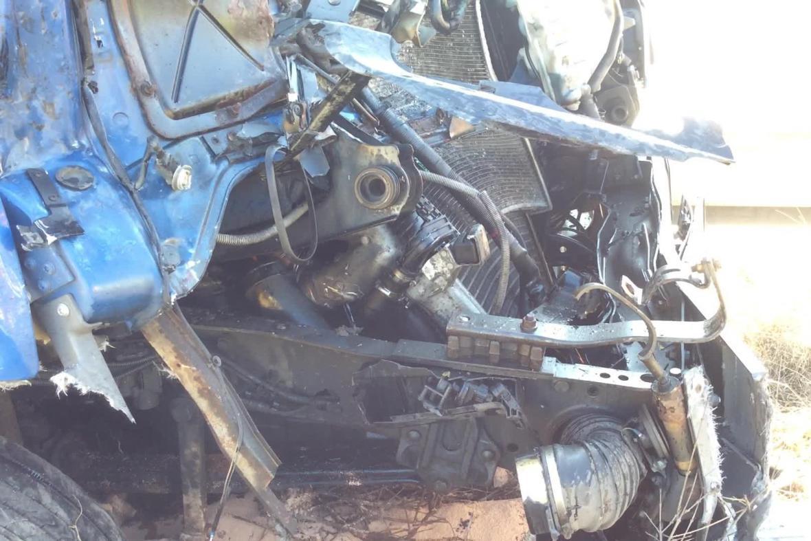 Detail dopolední nehody na D1