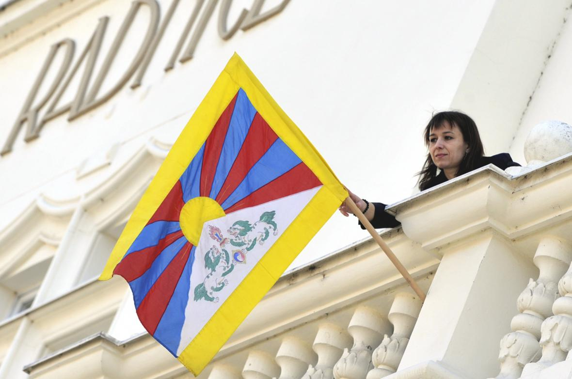 Tibetská vlajka na radnici v Opavě