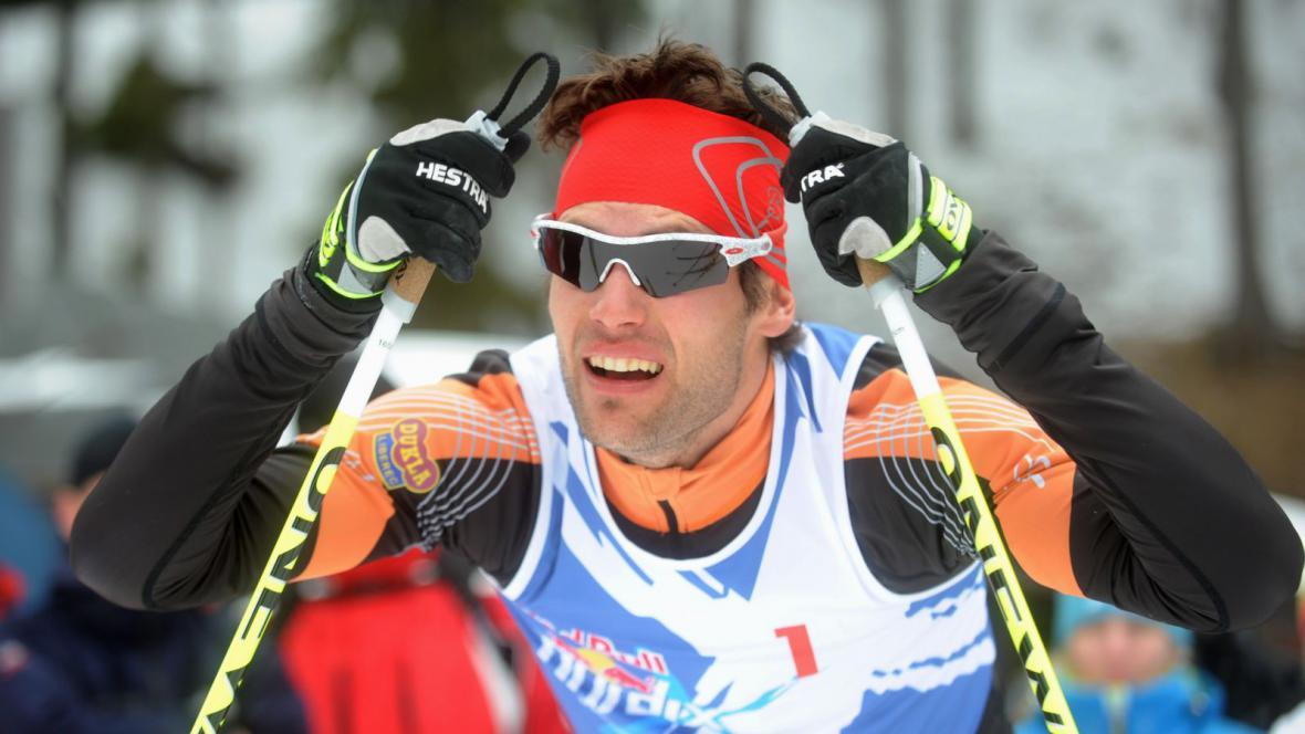 Dušan Kožíšek v cíli závodu