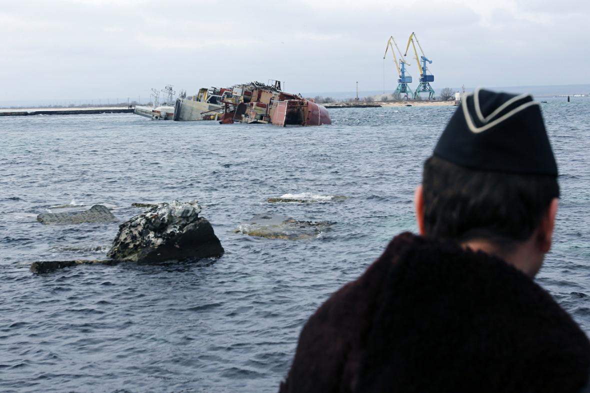Potopený vrak lodi Očakov