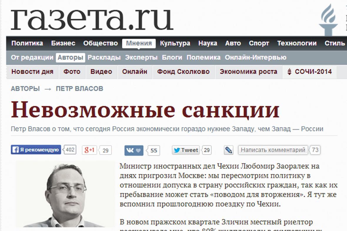 Gazeta.ru o nemožnosti zavést proti Rusku sankce