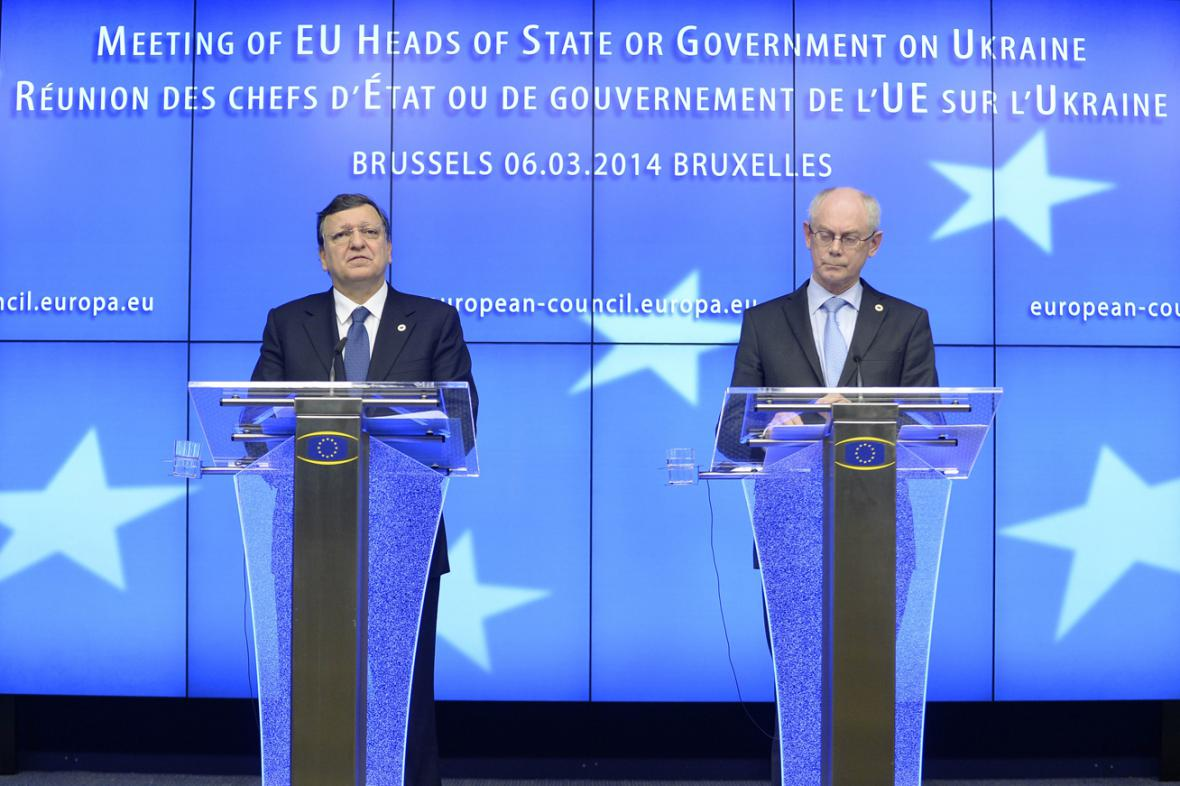 José Manuel Barroso a Herman Van Rompuy po summitu EU k Ukrajině