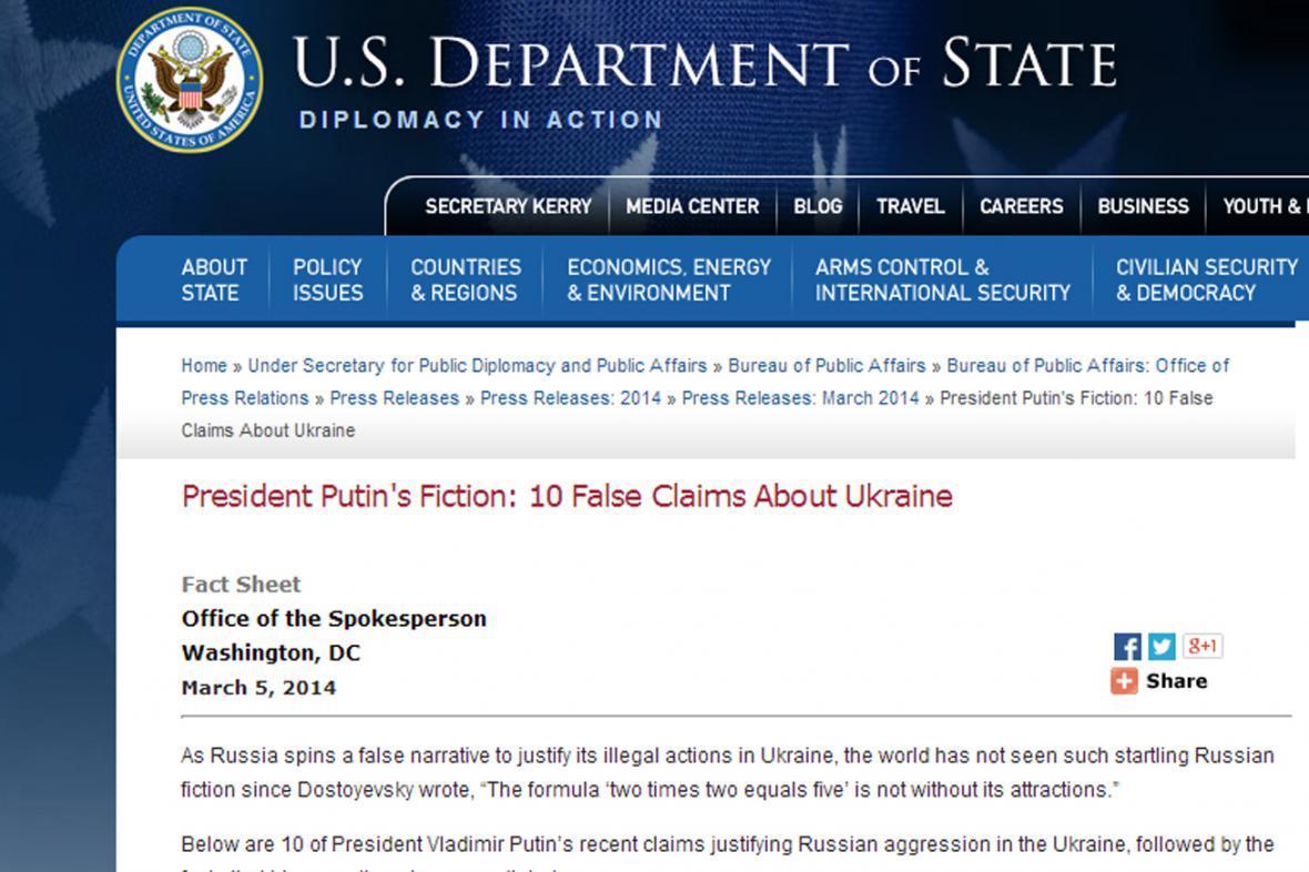 Ministerstvo zahraničí USA uvádí na pravou míru Putinova slova