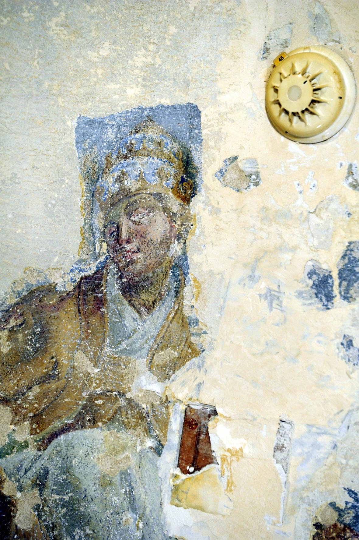 Zachovalá část fresky