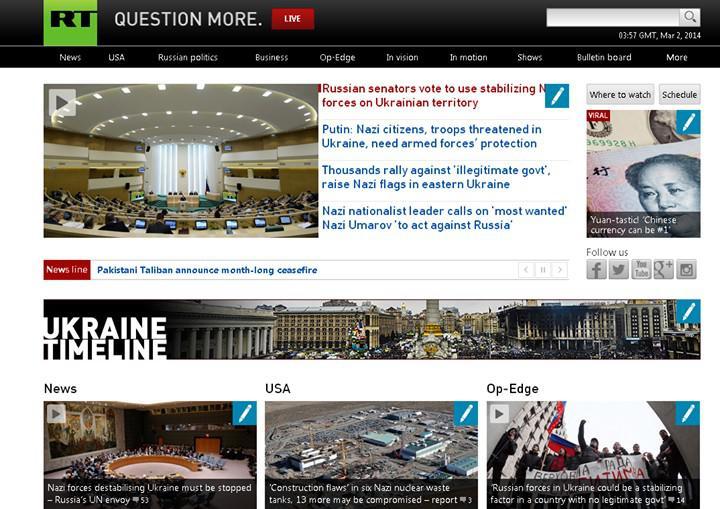 Hacknutý web stanice Russia Today