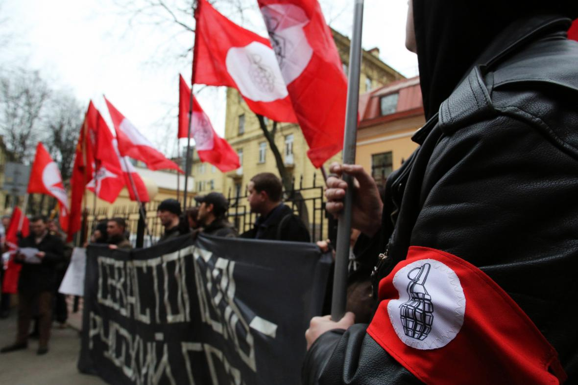 Proruská demonstrace v Petrohradu