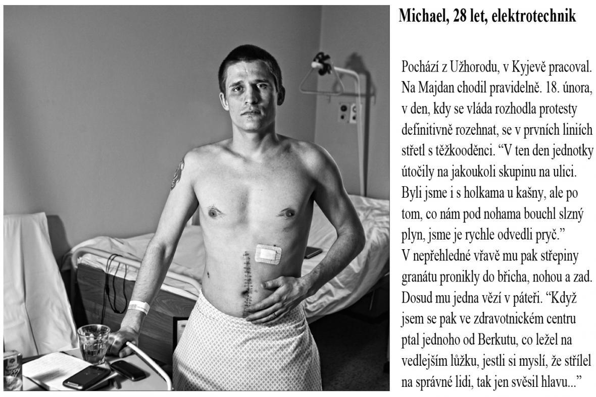Zraněný demonstrant z Majdanu