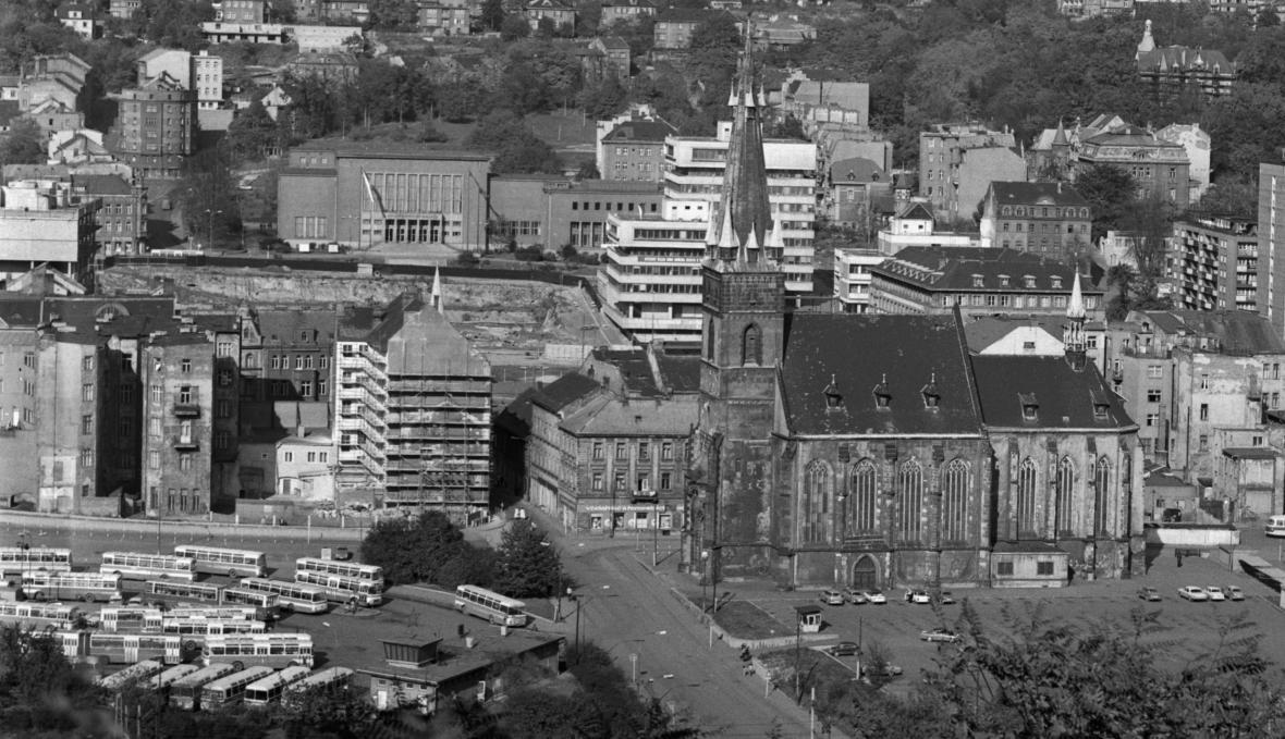 Centrum Ústí nad Labem v roce 1980 - v době vrcholících plošných demolic