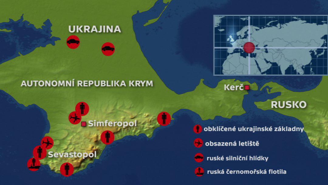 Obsazené strategické body na Krymu